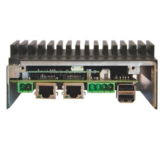 Der Hutschienen-PC »H1-A« nutzt ein kompaktes Qseven-Modul, das zur Kühlung direkt mit dem Rechnergehäuse verbunden ist.