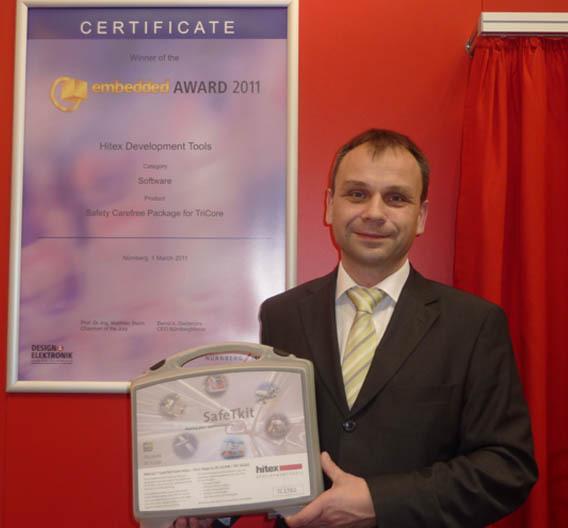 Frank Grobe, Geschäftsführer von Hitex, ist stolz auf die Auszeichnung mit dem embedded Award 2011.