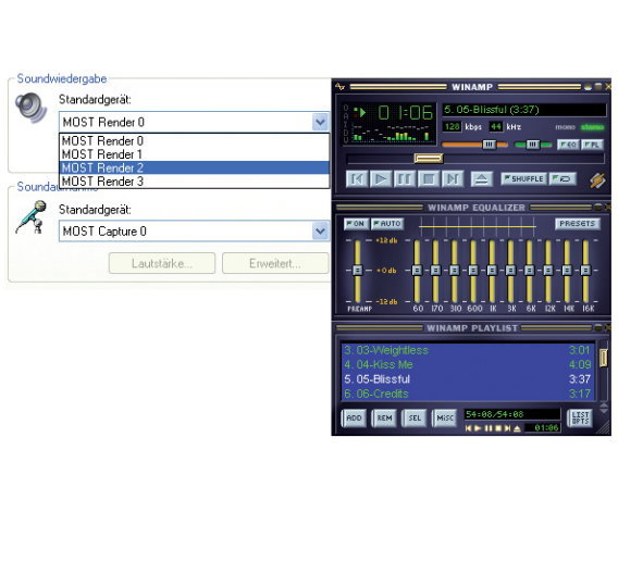 Figure 2. Using the audio driver of the MOST PCI Tool Kit.