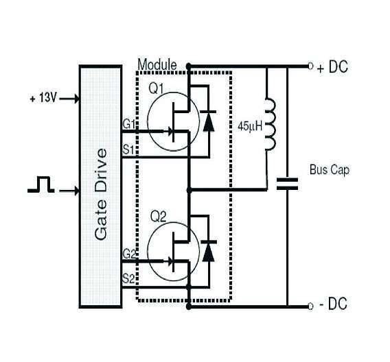 Bild 1: Halbbrücken-Konfiguration der Module, bestehend aus zwei in Serie liegenden SiC-VJETs mit jeweils einer antiparallel geschalteten SiC-Schottky-Diode