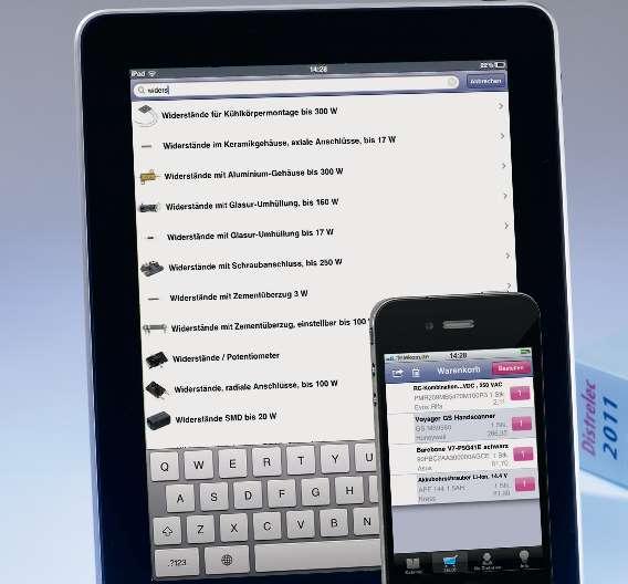 Alle elektronischen Bauelemente aus dem 2.800-Seiten-Katalog können jetzt auch bequem per iPhone bestellt werden. Unter den ersten 1000 Bestellungen verlost Distrelec ein iPad.
