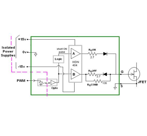 Bild 3: Beispiel eines möglichen Gate Treibers für Normally-off-JFETs wie den »SJEP120R100« von SemiSouth