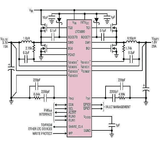 Bild 1: Schaltung für eine typische Applikation mit dem »LTC3880«