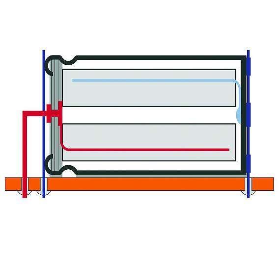 Bild 3: Die Kathodenkontaktierung (blau) des Elkos erfolgt über beidseitig am Gehäuse angeschweißte Kontaktplatten, um den Anodendraht mechanisch zu entlasten.