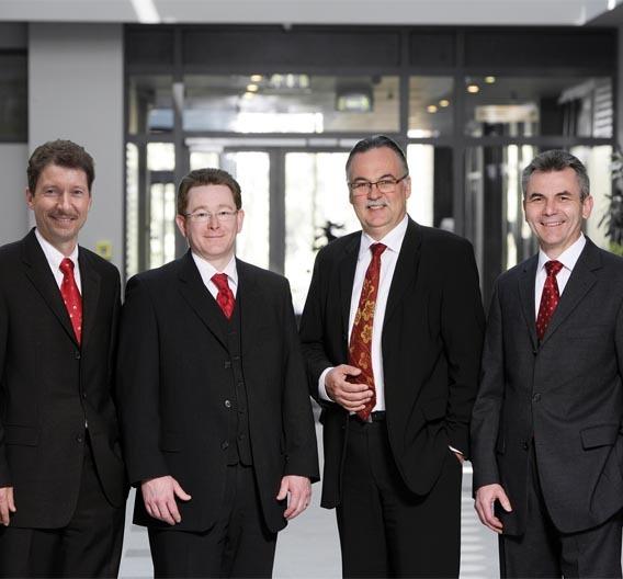 Geschäftsleitung Vector Informatik GmbH: Eberhard Hinderer, Dr. Thomas Beck, Dr. Helmut Schelling, Martin Litschel.