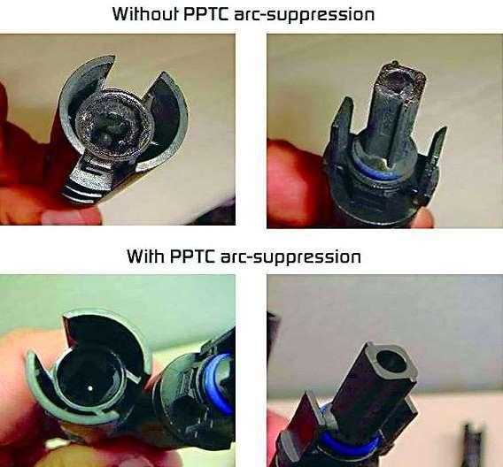 Bild 3: Ergebnis eines Plasmalichtbogentests bei HGÜ-Steckverbindern mit (unten) und ohne Lichtbogenunterdrückung (oben)