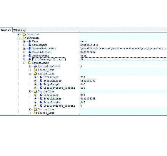 Bild 3: XML-Datei und grafische Darstellung von C0-Coverage