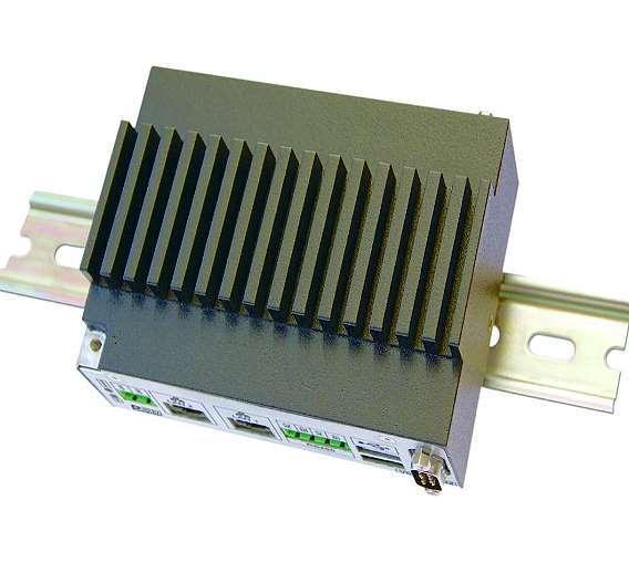 Bild 1: Der kompakte Hutschienen-PC »H1-A« von DSM kann als Gateway- und Kommunikationsrechner, Webserver oder dezentrale Steuereinheit im industriellen Umfeld eingesetzt werden