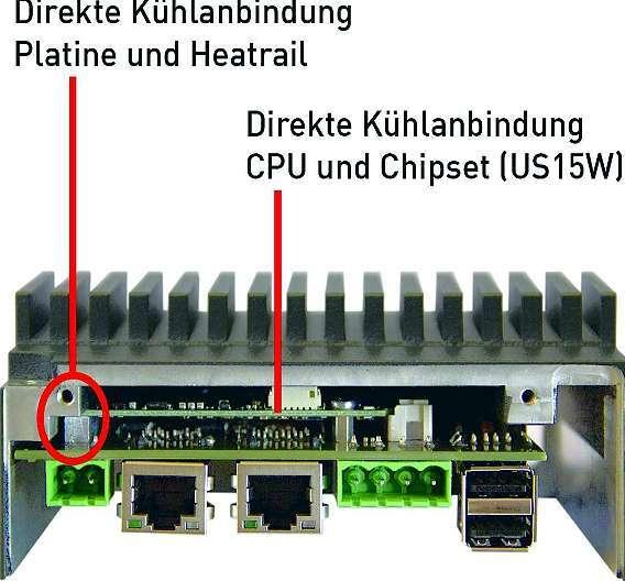 Bild 2: Das 70 mm x 70 mm große Qseven-Prozessormodul ist zur Kühlung direkt mit dem Rechnergehäuse verbunden