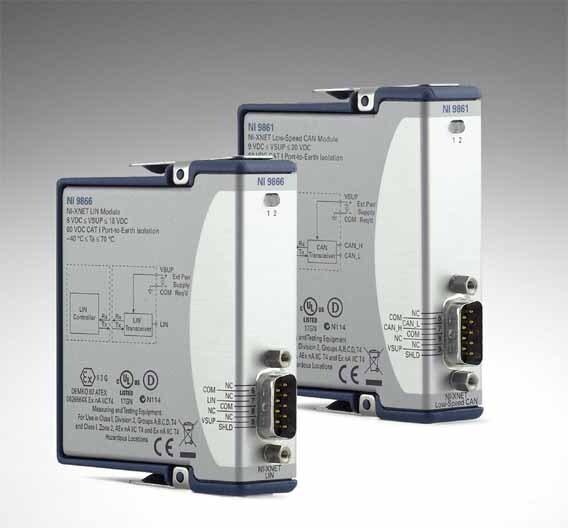 Für die C-Modulserie kommen von National Instruments zwei interessante Interfaces heraus: eines für CAN (rechts), das andere für den LIN-Standard. Damit eröffnen sich der CompactDAQ-Familie weitere Anwendungsvarianten.