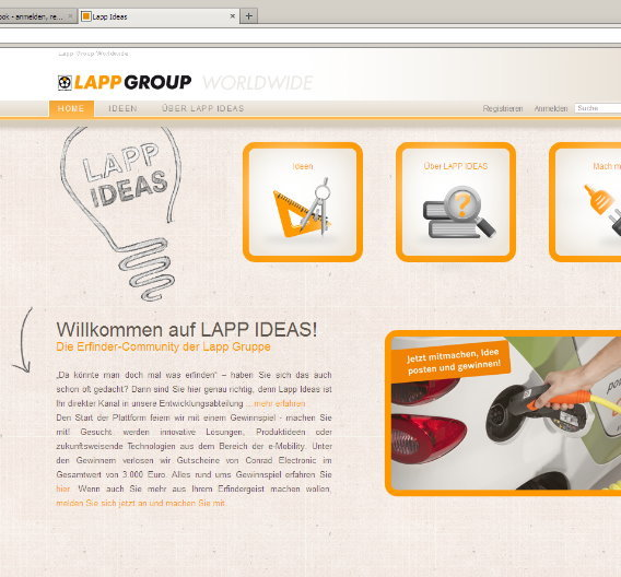 "Lapp hat das Open-Innovation-Portal ""Lapp ideas"" gestartet."