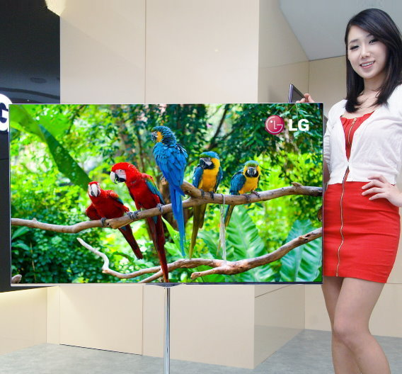 Nur 7,5 kg schwer und 4 mm dick ist der OLED-TV von LG mit 55 Zoll Bilddiagonale.