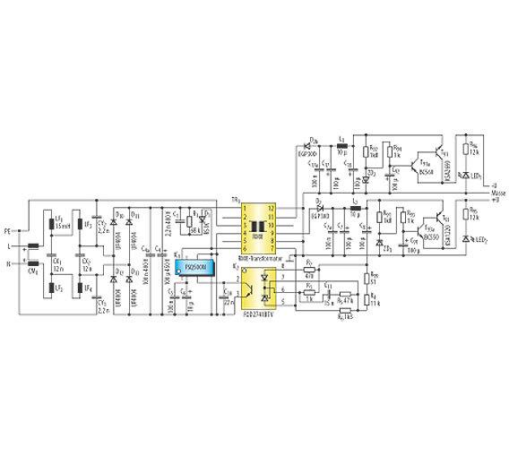 Bild 2. Die Schaltung des störarmen Schaltnetzteils weicht auf den ersten Blick nur minimal durch zusätzliche Filterschaltungen von üblichen Schaltnetzteilschaltungen ab. Erst auf den zweiten Blick lassen sich die Details bei der Bauteilauswahl und der Übertragerbauweise erkennen.