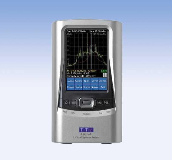 Frequenzen von 1 MHz bis 2,7 GHz deckt der bei Telemeter erhältliche portable  Spektrumanalysator PSA2701T von TTi ab