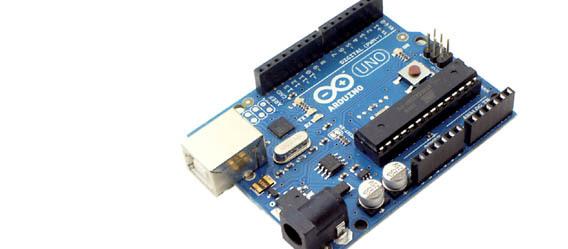 """Das Board """"Arduino Uno"""" mit einem Mikrocontroller ATmega328 ist das gegenwärtige """"Basic Board"""" von Arduino."""