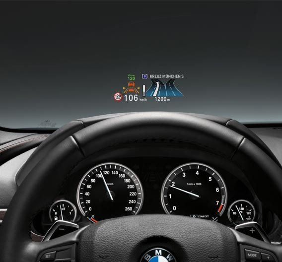 infotainment bmw setzt auf head up displays von. Black Bedroom Furniture Sets. Home Design Ideas