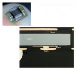 """Bild 2. Oben: Der 1-W-DC/DC-Wandler (TPS8267x) von Texas Instruments mit eingebettetem Controller-Chip (ein modifizierter TPS62620). Darunter: Im Querschliff ist der """"Face down""""-Aufbau des eingebetteten Schaltregler-Chips zu erkennen."""