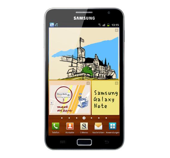 Fast schon ein Tablet: Das 14,7 cm hohe Galaxy Note von Samsung hat ein 5,3-Zoll-AMOLED-Display mit einer Auflösung von 800 x 1280 Pixeln.  Größere OLED-Displays für mobile Geräte dürfte es derzeit kaum geben.