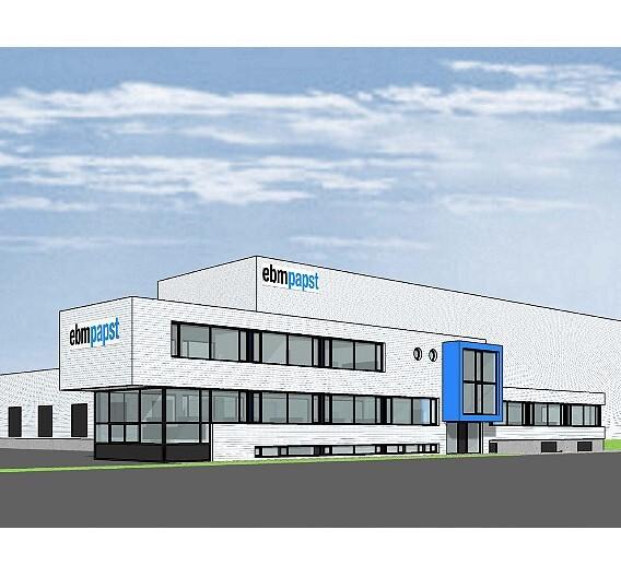 Planungsansicht des neuen Logistikzentrums von ebm-papst Landshut
