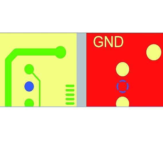 Bild 2: normales Pad (links) und Wärmefalle (Thermal-Pad) in einer Powerplane (rechts)