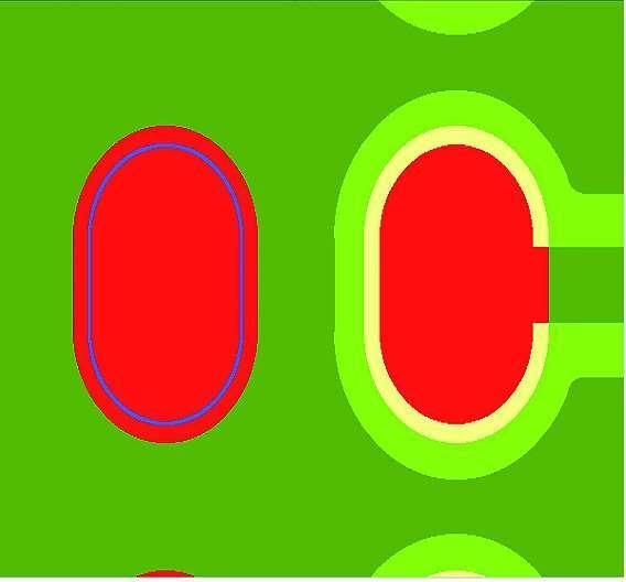 Bild 4: Parametrisierte Lötstoppmaskenfreistellung ergibt unterschiedlich große Lötanschlüsse (rechts)