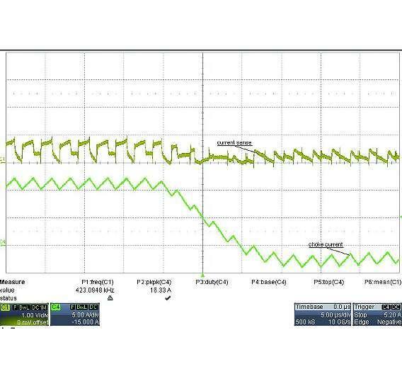 Bild 3: Bedingung mit großem Lastsprung - fallende Flanke (CH1 Strommessanschluss; CH4 Ausgangsdrosselstrom)