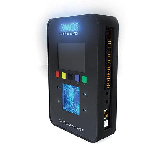 Bild 1. Das Entwicklungskit XS1-G enthält den Quadcore-Prozessor XS1-G4, einen QVGA-Touchscreen, USB- und Ethernet-Anschluss, einen SD-Kartensteckplatz u.v.m.