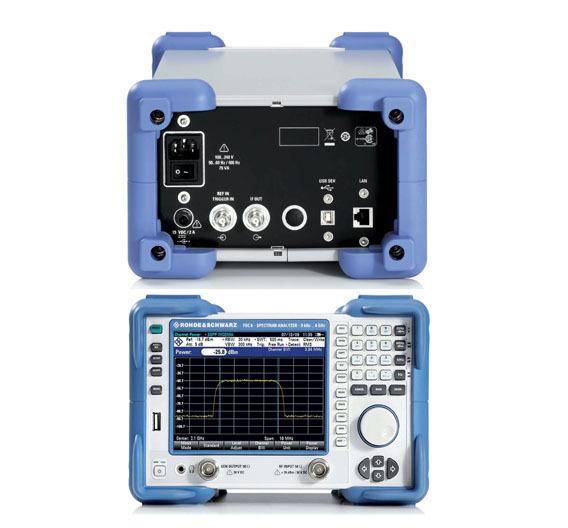 Bild 1. Vorder- und Rückseite des Spektrumanalysators FSC. Tastatur und Bildschirm sind praxisgerecht konzipiert; auf der Rückseite findet sich ein Anschluss für ein 15-V-Netzteil. Dort sind auch noch ein BNC-Anschluss für den ZF-Ausgang sowie ein umschaltbarer Eingang für Triggersignale bzw. für die Referenzfrequenz zu finden.