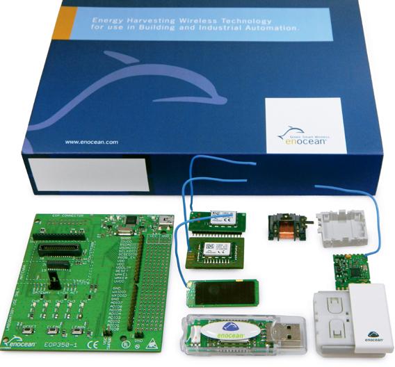 Inhalt des Entwickler-Kits EDK350 der Enocean GmbH, mit dem sich energieautarke Funksensor-Applikationen ohne Batterie entwickeln lassen.