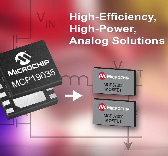 Microchip hat mit dem MCP19035 eine neue Familie von analogen Leistungsreglern und erstmals auch verlustarme MOSFETs (MCP87xxx) vorgestellt.