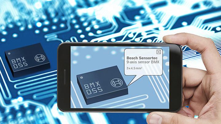 BMX055 von Bosch Sensortec integriert in einem Gehäuse mit 3,5 x 4,5 mm² Grundfläche einen Beschleunigungssensor, ein Gyroskop sowie einen geomagnetischen Sensor.