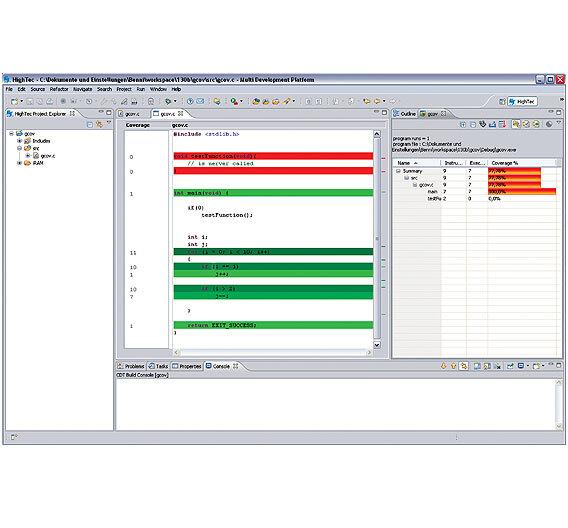 Bild 2. Der Hightec-Compiler kann den Code instrumentieren, um die Code-Abdeckung in einer grafischen Übersicht darzustellen.
