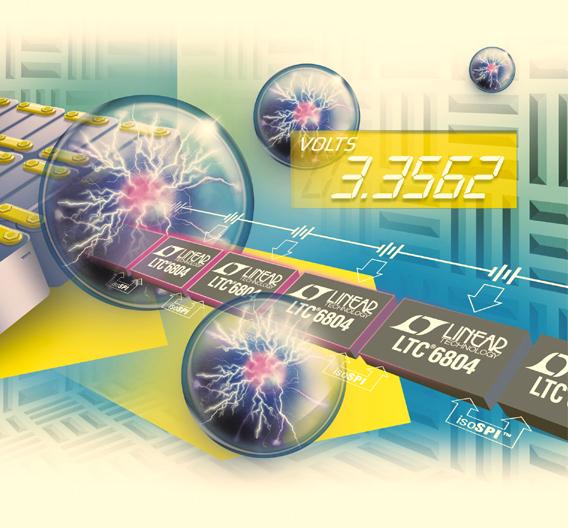 Akku-Überwachungs-IC LTC6804 von Linear Technology überwacht bis zu 12 in Serie geschaltete Akkuzellen (je max. 4,2 V) mit einer Auflösung von 16 bit und einer Genauigkeit besser als 0,04 %.