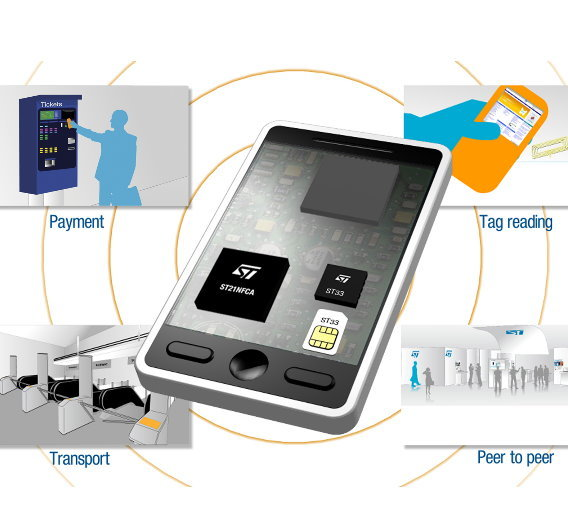 Der NFC-Baustein ST21NFCA ist in 0,13‑µm-Technologie gefertigt und verfügt über integrierten nichtflüchtigen EEPROM-Speicher.