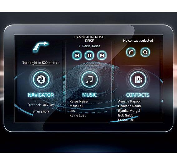 Bild 1. Demonstrator für ein Fahrzeug-Infotainment-System.