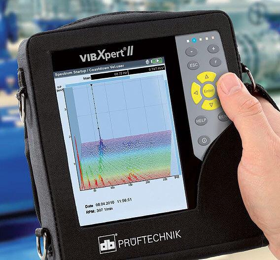 """Bild 2. Der """"VIBXPERT II"""" ist ein Signalanalysator, der über zwei Kanäle eine FFT durchführen kann. Die Benutzeroberfläche zeigt den sinnvollen Einsatz von Farben."""