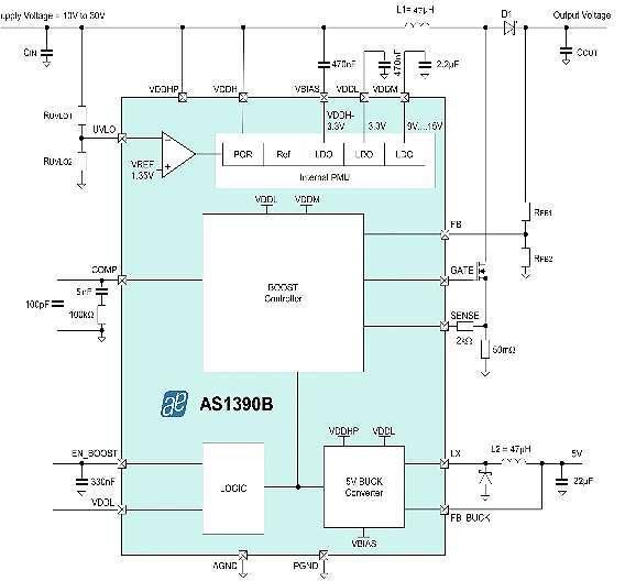 Bild 2: Der Aufwärtsregler-Controller »AS1390B« von ams in einer typischen Anwendung