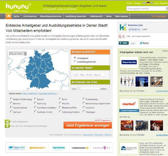 Bewertungen zu potenziallen Arbeitgebern finden Jobsucher auf kununu, das jetzt vom Business-Netzwerk Xing übernommen wurde.