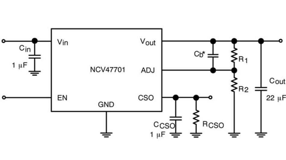 Bild 1. Implementierung des Spannungsreglers mit Strombegrenzung - NCV47701.