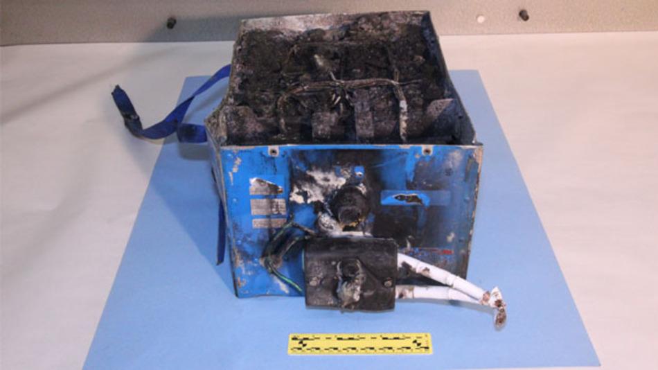Der vom Feuer zerstörte Akku. Wie das Thermische Durchgehen entstanden ist, wird weiter untersucht.