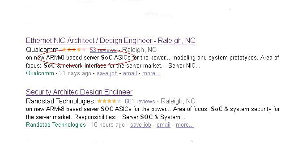 Nicht nur Qualcomm selbst, sondern auch die Zeitarbeitsfirma Randstadt sucht Entwickler für ARM-basierte Server-Chips.