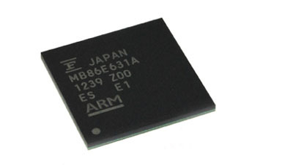Das SoC MB86E631 von Fujitsu. Die Entwicklung dieser Bauelemente wird mit Panasonic zusammengeführt und ausgelagert.
