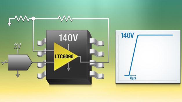 Der LTC6090 verstärkt Spannungen bis 140 V.