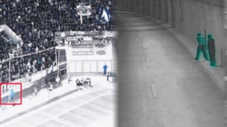 Links: Das Vigilant Eye System überwacht eine Fankurve in einem Fußballstadion und markiert automatisch ungewöhnliche Ereignisse, etwa eine Person an Spielfeldrand (rote Box). Rechts: Erkennen von Fußgängern in einem Straßentunnel.