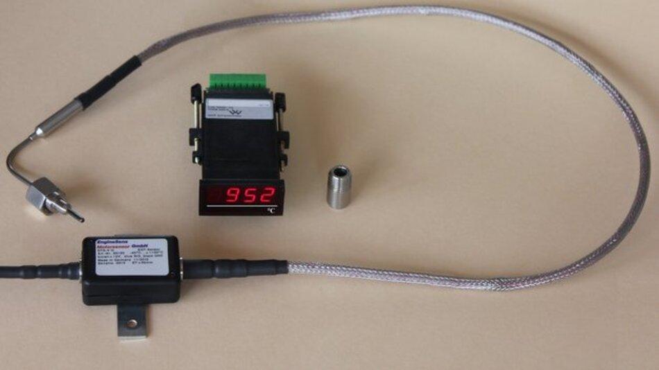 Temperaturanzeige DU-EGT mit roter LED-Anzeige zum Schalttafeleinbau inklusive Temperaturfühler DTS-V III für 1100°C.