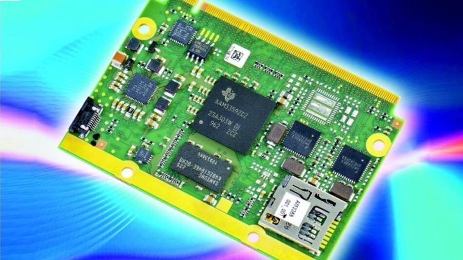 nanoRISC-Modul mit dem Cortex-A8 Prozessor AM335x von Texas Instruments, den es mit 300 bis 800 MHz gibt. Das Modul verbraucht insgesamt nur 2 W.