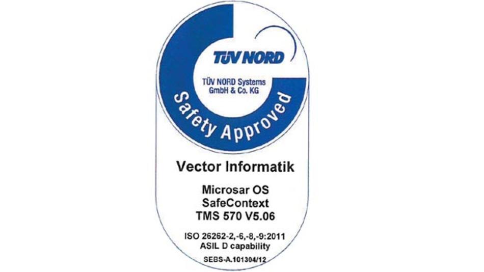 Erhielt die ASIL-D-Zertifizierung für die Prozessorfamilie TMS570 von TI: Vectors AUTOSAR-Betriebssystem MICROSAR OS SafeContext.