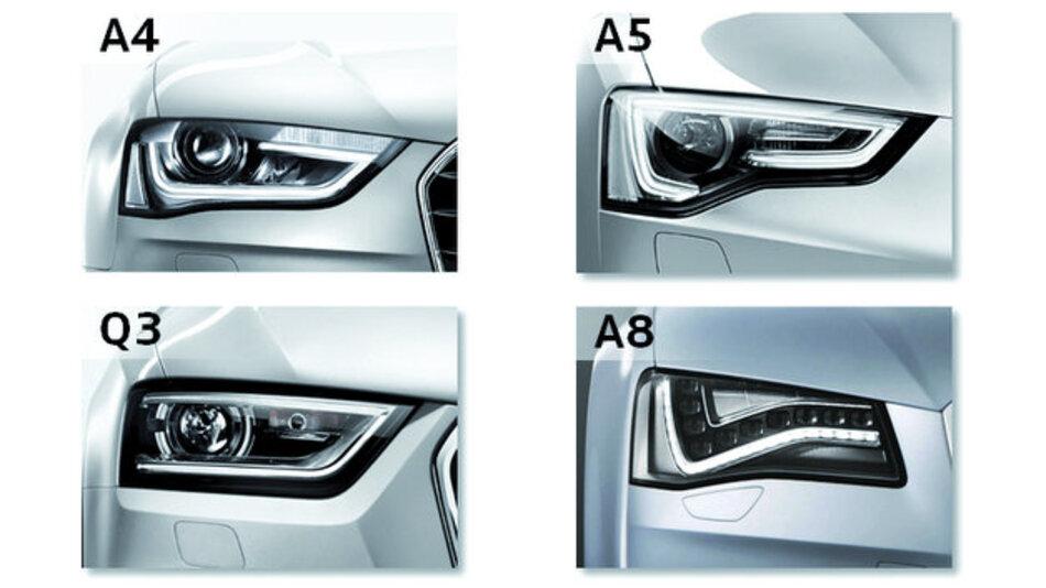 Bild 1. Unverwechselbar: Die Scheinwerferpartie verschiedener Audi-Modelle.