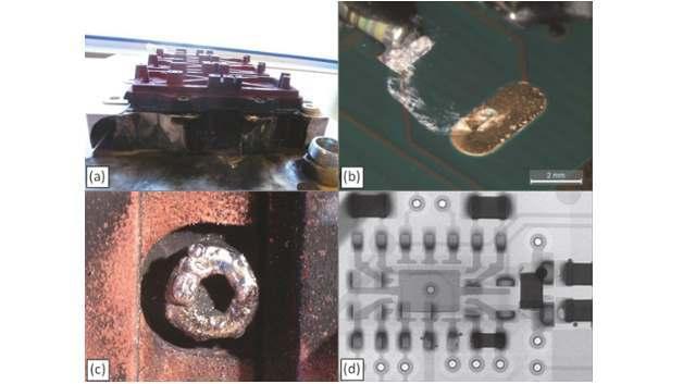 Analyse der Ausfallursachen bei Leistungsmodulen aus WEA, (a) Modul mit Explosionsschaden, (b) Salzablagerung auf Treiberplatine, (c) Spuren eines Lichtbogenüberschlags, (d) Röntgenanalyse der Treiberplatine