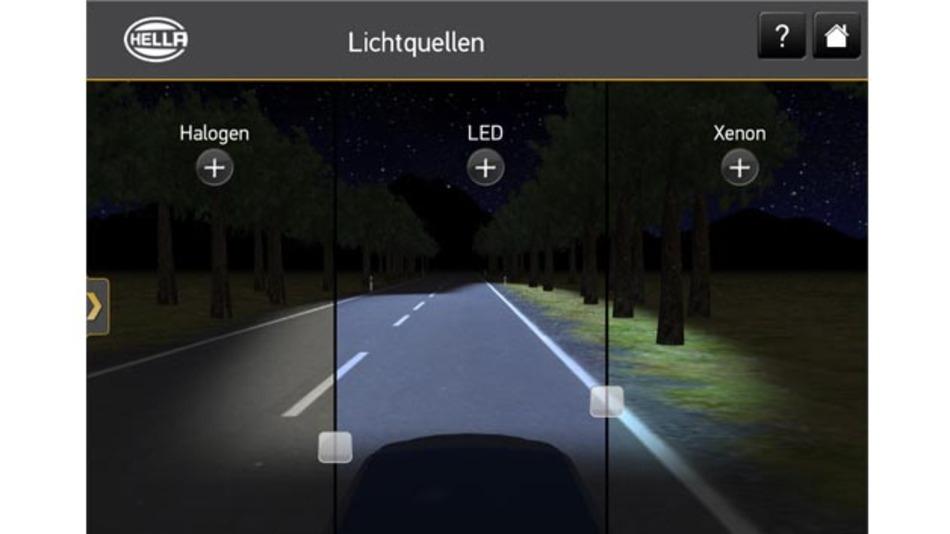 Die App von Hella ermöglicht den Vergleich verschiedener Lichtquellen.